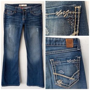BKE STAR STRETCH DENIM JEWELED BLUE JEANS SZ 27